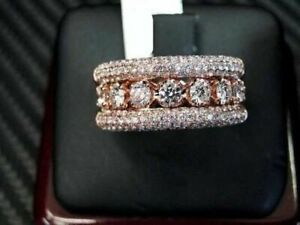 Men's 14K Rose Gold Over 2.58 Ct Pave Diamond Engagement Wedding Pinky Ring Band