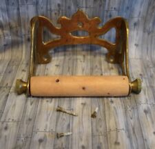 Antique Brass Victorian Toilet Paper Tissue Holder Vtg Wood Roller
