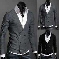 ST74 New Mens Casual Slim Fit Long Sleeve Sweaters Shirts 2 colors