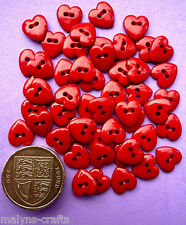 TINY RED HEARTS 9mm Craft Buttons 1ST CLASS P&P Mini Love Valentine Small Sewing