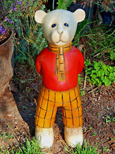 """Beautiful Hand Carved Wooden Rupert The Bear Figure 18"""" Tall One Of A Kind"""