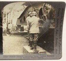 WWI Stereoview card:  French Gunners Adjust Large Railroad Artillery Gun