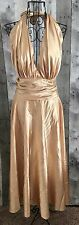 Aspeed Gold Satin Gown Dress Halter Pinup Bombshell Vintage Look Plus Size 3XL