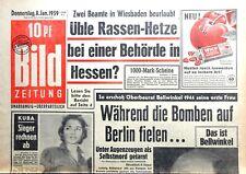 Kult-Zeitschrift BILD ZEITUNG 8.1.1959, Kuba - Sieger rechnen ab; Rassen-Hetze
