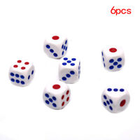 6x 10mm Acrylic White Round Corner Dice Clear Dice Portable Table Playing Gam_DS