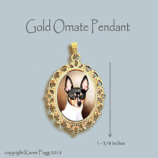 Toy Fox Terrier Dog - Ornate Gold Pendant Necklace