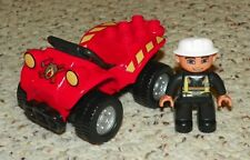 LEGO - Duplo, Four Wheel Bike w/ Handlebars & Fire Pattern + Fireman Mini Figure