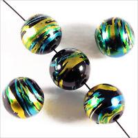 Lot de 20 perles en verre Décorées 10mm Noir Doré