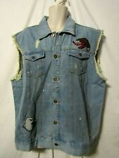 mens born fly embroidered denim jeans jacket vest 2XL nwt $88 distressed