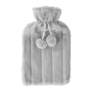 Hot Water Bottle Faux-Fur Cover Cosy Plush Sleeve COVER ONLY Grey