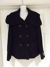 VILA Clothes Black Coat Wool Blend Classic Hip Length Smart/Casual Size Medium