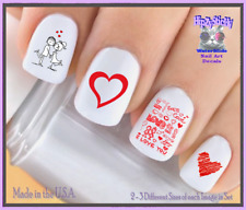 Nail Art V7605 VALENTINES Red Heart Love Doodle WaterSlide Nail Decals Transfers