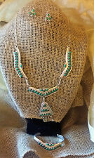 Authentic Navajo Signed NH Malachite Sterling Necklace Bracelet & Earring Set