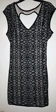 Forever 21 Lace Black Nude BODYCON DRESS SIZE LARGE NEW WITH TAGS.