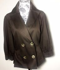 Bandolino Womens 14 Jacket Brown Double Breasted Waist Belt Stretch 3/4 Sleeves