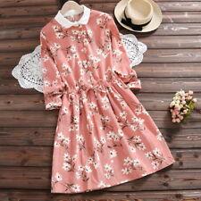 Japanese Fashion Vintage Mori Girl Sweet Oversize Women's Slim Loose Print Dress