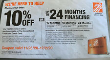 Home Depot Coupon 10% Off or Up To 24 Month Financing  Exp 12/02/20 Online/Store