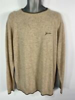 MENS P.G.FIELD SIZE LARGE OATMEAL WOOL KNITTED CREW NECK PULLOVER SWEATER JUMPER