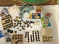 Vintage Sewing Notions and Button Craft Mixed Lot in Vintage Fruitcake Tin