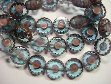 15 12mm Czech Glass Sapphire Blue w/ Copper Daisy Flower Coin Beads