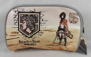 New AOT Attack On Titan Mikasa Cosmetic Makeup Make-Up Zippered Tote Bag