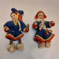 """Lot of 2 - 5"""" Vintage Handmade Cloth Dolls Asian Chinese Oriental"""