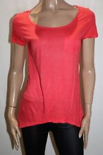 Just Jeans Brand Orange Front Pocket Cap Sleeve Tee Top Size S BNWT #TP106