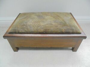 Vintage 1930s Eclipse wooden storage stool, green padded seat, footstool sewing