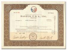 Bagels, U. S. A., Inc. Stock Certificate (Harold Glantz, Genovese Crime Family)
