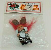 Vintage Norfin Troll in Reindeer Costume Christmas Ornament - 1992 - New in Bag
