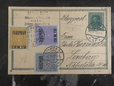 1918 Vienna Austria to Lemberg Poland Airmail Cover # C1-C3 Postcard