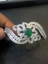 Gorgeous 4.72 Cts Natural Pave Diamonds Emerald Bangle Bracelet In Fine 14K Gold