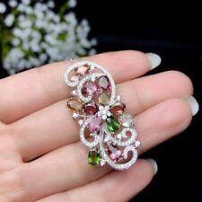"""Multi Color Gemstone & Diamonds 14k White Gold Over Pendant 18"""" Chain Necklace"""
