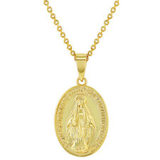 18k Gold Plated Little Oval Miraculous Virgin Mary Medal Necklace Pendant 19""
