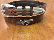 Men's Brown Genuine Leather Belt with Virginia Tech Conchos 40  RLE