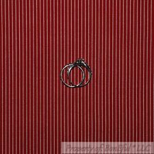 BonEful Fabric FQ Cotton Quilt Maroon Red Cream Xmas Ticking Stripe Small Little