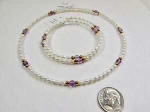 Lee Sands Amethyst & Pearl Coil Choker & Bracelet Set