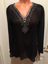 I.e. Sheer Silk Black Tunic Silver SEQUIN BLOUSE TUNIC Euc Lord & Taylor Xs