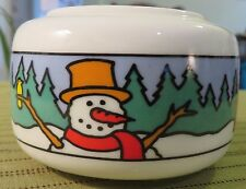 "4"" Ceramic Candle Holder w SNOWMAN Christmas Scene UNUSED"