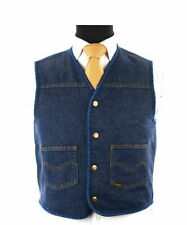 Vintage Men's Roebucks Sherpa Fleece Lined Denim Cowboy Western Wear Vest Sz M