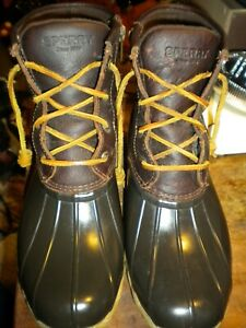 Sperry Womens Saltwater Duck Boot Tan leather over Dark Brown size 8m EUC