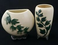 Vintage Royal Copley Pottery Vases Climbing Ivy Mid Century Lot of 2 1950s