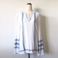 JUST JEANS White Crinkle Blue Embroidery Long Sleeve Boho Top Blouse SIze 10-12