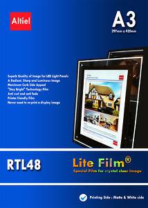 RTL48: A3 x 50s - Inkjet Premium Back lit Paper /  Backlit Film (Translucent)