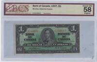 1937 (BC-21a) Bank of Canada One Dollar AU-58