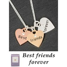 Equilibrium 3 Tone Hearts Necklace Best Friends Forever Jewellery