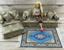 Barbie/Monster High Doll Set Sofa Couch Chair Ottoman Rug Pillows 1:6 Furniture