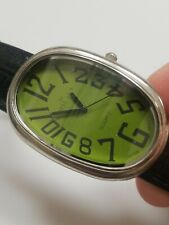 Vintage Swiss Gold Watch Green Dial Black Band Leather