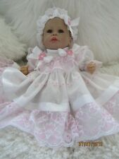 Vêtements pour bébé 0-3 mois/Reborn doll 16 Blanc Rose Dentelle ensemble deux pièces Nouveau