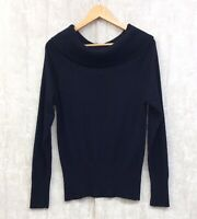 Women's M&S Jumper Size 14 Cowl Neck Black Fine & Chunky Knit With Cashmere